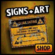 Caution, warning and scary signs, stickers, art & portraits